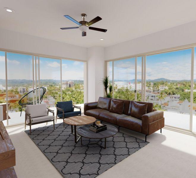 Living room - Corner - Ocean View unit - Pavilion Bucerias - Ribiera Nayarit Mexico